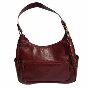 Naturalizer Dark Red Leather Hobo Shoulder Bag